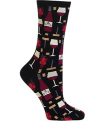 hot sox women's wine print fashion crew socks