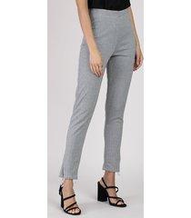 calça legging feminina cintura média estampada chevron cinza mescla