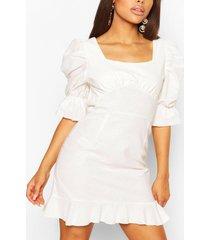 petite linen look volume sleeve mini dress, ecru