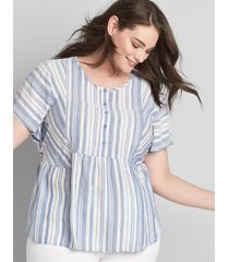 lane bryant women's striped peplum top 26 blue beach stripe
