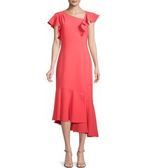 shoshanna women's asymmetrical midi dress - deep coral - size 0