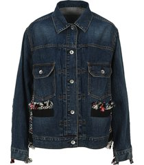 sacai frayed panel denim jacket