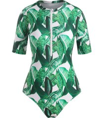 palm leaf print short sleeve zip front one-piece swimsuit