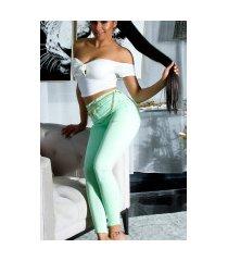trendy skinny jeans in pastel kleur groen