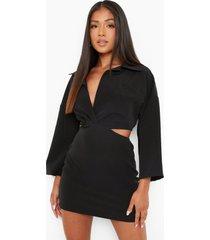 petite getailleerde blouse jurk met open zijkant, black
