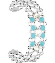 bracciale rigido in ottone rodiato con cristalli e smalto azzurro per donna