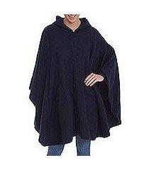 alpaca blend hooded cape, 'vision in navy' (peru)