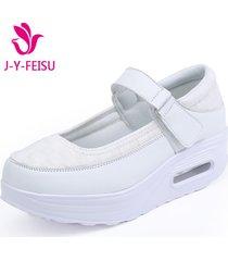 casuales transpirables agite los zapatos mujeres zapatillas de plataforma