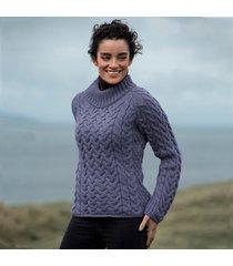 sheelin blue aran cable sweater medium