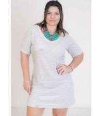 vestido mari malpighi camisetão curto listra off white e cinza