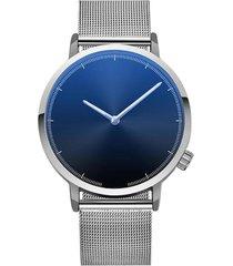 reloj hombre clasico acero inoxidable negocios 403-c plateado negro
