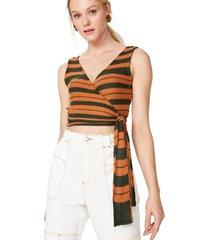 regata amaro tricot transpassada cobre - dourado/unico - feminino - dafiti