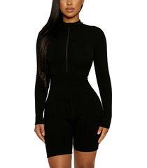 women's naked wardrobe won't u zip it snatched long sleeve romper, size small - black