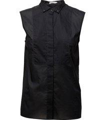 tuxedo sleeveless shirt overhemd met korte mouwen zwart filippa k