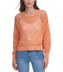 dkny jeans juniors' open-knit sweater