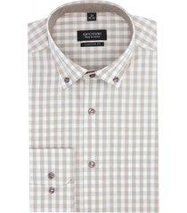 koszula bexley 2819 długi rękaw custom fit brąz