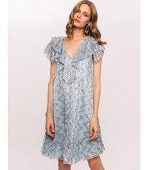 sukienka z cekinami i falbanami