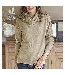 cotton blend pullover, 'taupe versatility' (peru)