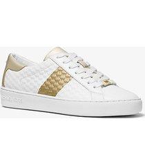 mk sneaker colby in pelle goffrata con logo e righe - bianco/oro pallido (bianco) - michael kors