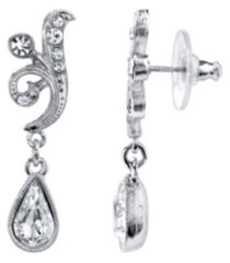 2028 silver-tone crystal teardrop swirl earrings