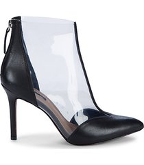 aurora leather & transparent booties