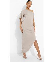 maxi jurk met eén blote schouder en wijde mouwen, grey