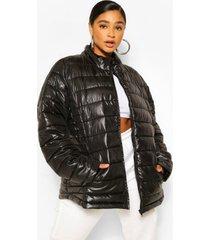 plus glanzende gewatteerde jas met hoge hals, black
