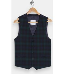 mens green black watch check skinny suit vest