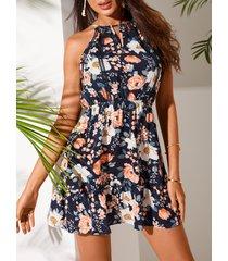 yoins azul marino ajustable cuello tirantes con estampado floral al azar sin mangas vestido