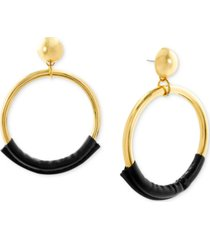 steve madden gold-tone & leather drop large hoop earrings