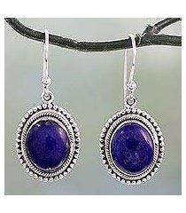 lapis lazuli dangle earrings, 'true clarity' (india)