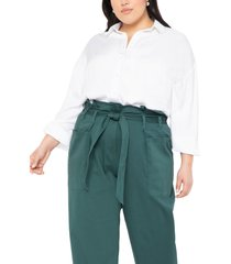 plus size women's eloquii relaxed button-up georgette blouse