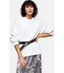 idol ivory split side fisherman sweater - ivory