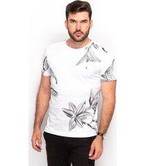 camiseta t shirt algodão teodoro masculino floral slim - masculino