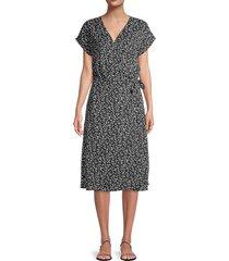 joie women's bethwyn floral-print wrap dress - caviar - size xs