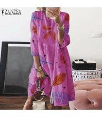 zanzea mujeres de cuello redondo impreso vestido a media pierna vestidos hasta la rodilla casual holgada señoras -rosa