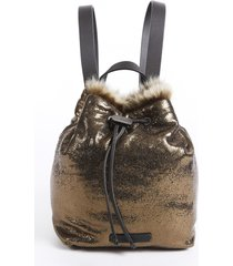 brunello cucinelli gold leather fur drawstring backpack gold sz: m