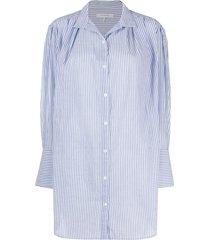 frame oversized pleated shirt dress - blue