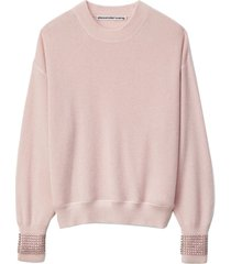 crewneck sweater with crystal cuff