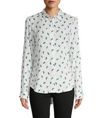 cactus-print high-low shirt