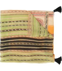 etro tassel-embellished frayed scarf - neutrals