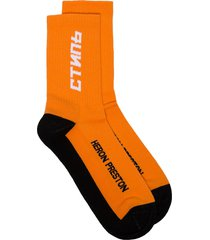 heron preston logo-embroidered socks - orange