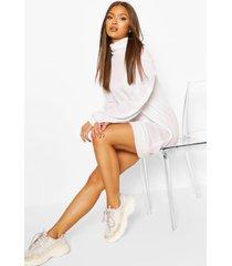 brushed puff sleeve shift dress, white