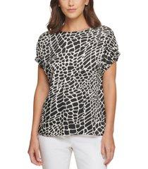 dkny animal-print elastic-sleeve top