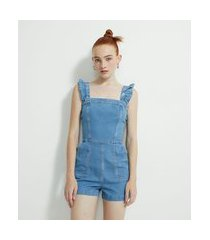 macaquinho curto em jeans com babadinho na alça | blue steel | azul | pp