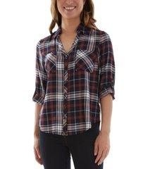 bcx juniors' plaid split-back shirt