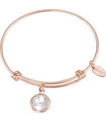 bracciale in metallo rosato e pietra colore per donna