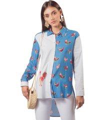 camisa adrissa estampados azul