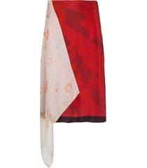 marine serre asymmetric patchwork skirt - red
