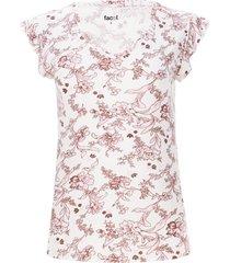 camiseta cuello v con arandela color beige, talla 16